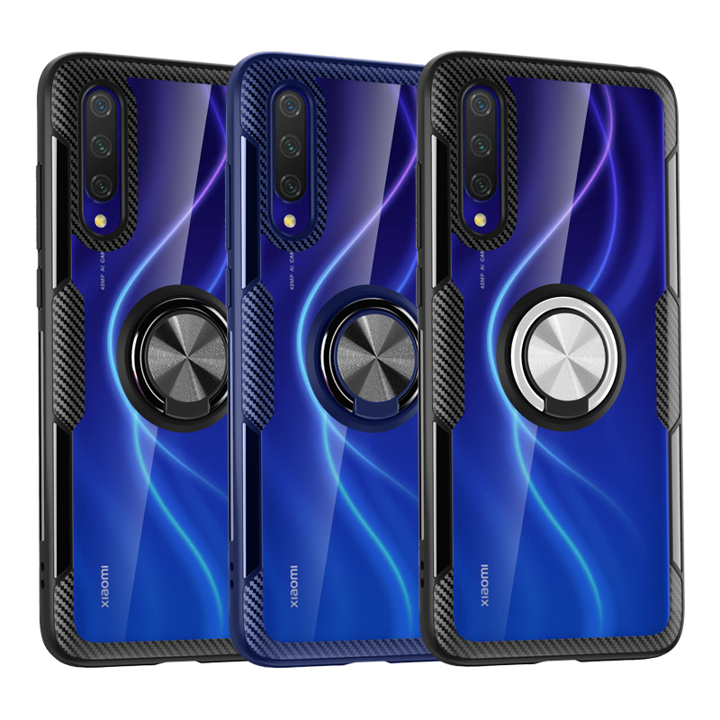 Transparent Armor Case For Xiaomi Mi 9 Lite 9T Pro Note 10 T Redmi Note 9 9S 8T 8 7 5 K20 Pro Ring Stand Holder Shockproof Cover