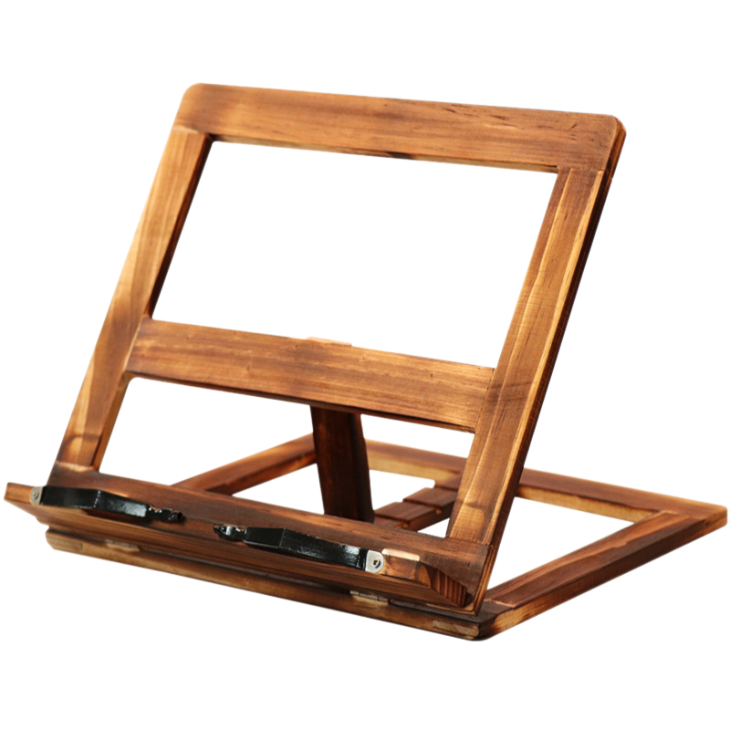 EASY-Foldable Recipe Book Stand,Wooden Frame Reading Bookshelf,Tablet Pc Support Stand