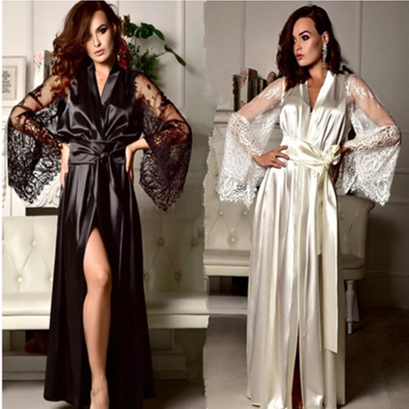 HKMN Erotic Lingerie Sexy Long Nightdress Ice Silk Eyelash Lacing Plus Size Perspective Dress Ceke Porno Bielizna Erotyczna