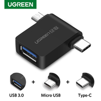 Ugreen OTG Adapter 2-in-1 Micro USB Type C to USB 3.0 Type-C Adapter For Samsung Galaxy S10 Macbook USB C OTG Adapter Converter