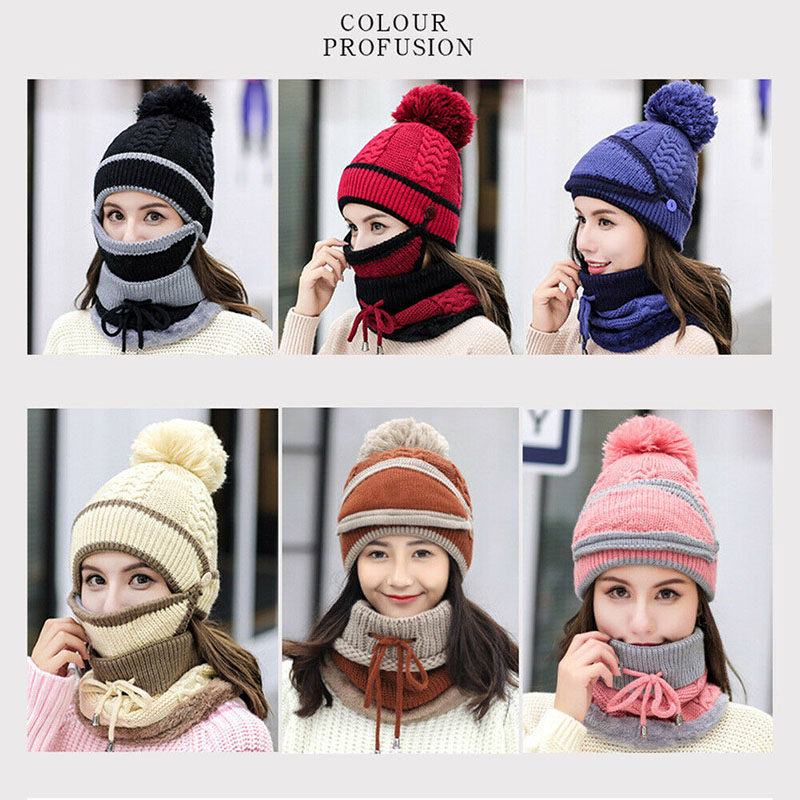 Women Knitted Beanie Scarf Hat Face Mask Set Snood Neck Winter Pompom Cap Thicken FEA889