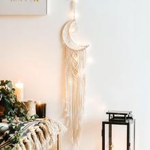 Boho estilo hecho a mano Luna tapiz con estrellas decoración colgante de pared para casa puerta colgante ornamento decoración de boda regalo de bienvenida