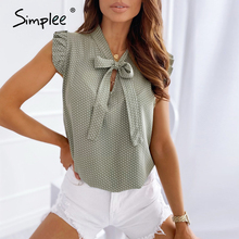 Simplee chic shirt bow tie green women lace Elegant neck Polka Dot print female tops Sleeveless autumn casual ladies tops 2020