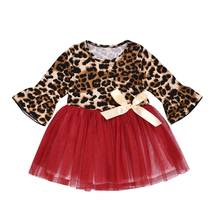 цены Toddler Girls 3/4 Ruffle Long Sleeve Dresses Leopard Top and Red Tulle Tutu with Ribbon Bow Christmas Dress Baby Girl