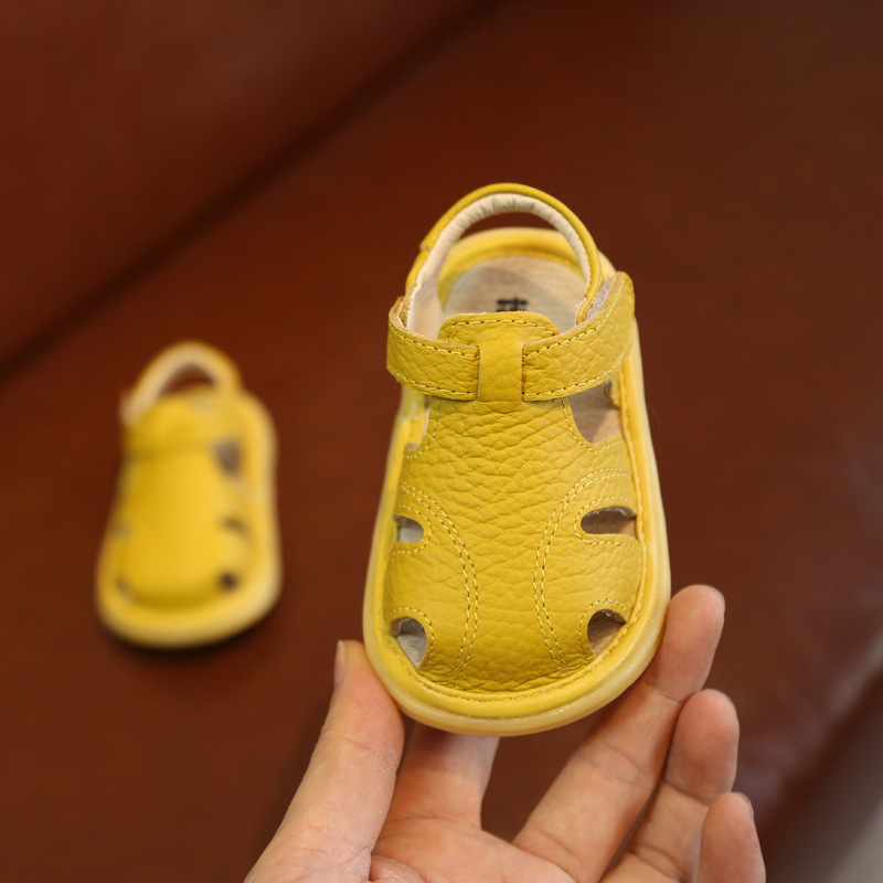 Baby Sandals Girls Boys Leather Baby Shoes 1-3 Years Old Soft Bottom Toe Cap Toddler Shoes