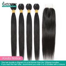 Mèches de cheveux non Remy lissés brésiliens, trames, à fermeture, de faible ratio, en 2x4, par lots, 50g chacune
