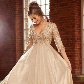 Champagne Long Chiffon Maternity Evening Formal gown Lace Pearl Beaded Three Quarter Sleeve 2018 mother of the bride dresses s m l xl maternity dress for photo shoot maxi maternity gown split front maternity chiffon gown sexy maternity photography props