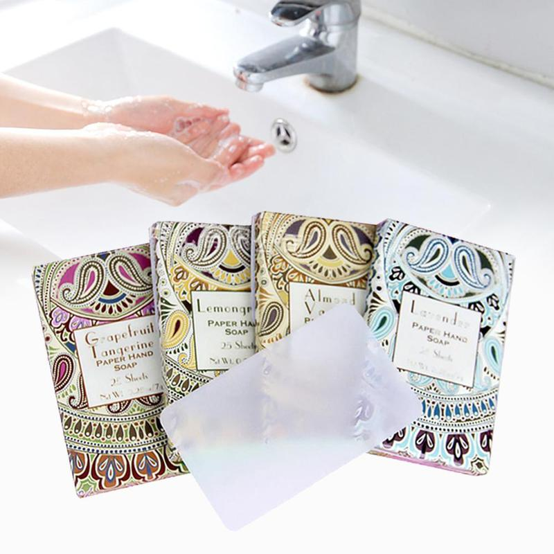 25pcs Travel Soap Paper Portable Outdoor Washing Hand Bath Clean Scented Slice Sheets Mini Paper Soap Random Disposable Soap