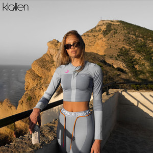 Image 5 - KLALIEN long sleeve Basic t shirt + letters print elastic skinny leggings sportswear slim outfit 2019 women fitness 2 pieces set