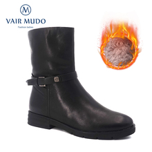 Women Boots Genuine-Leather Shoes Zipper Winter Fashion Ladies Flat Ankle DX46 -S Warm