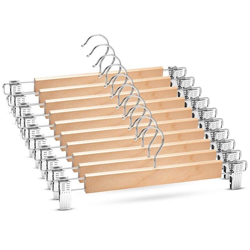 Wooden Skirt Hangers with Adjustable Clips (Pack of 10) Non Slip Trouser Hanger Natural Finish Lotus Wood Pants hangers  360 Deg Drying Racks     - title=