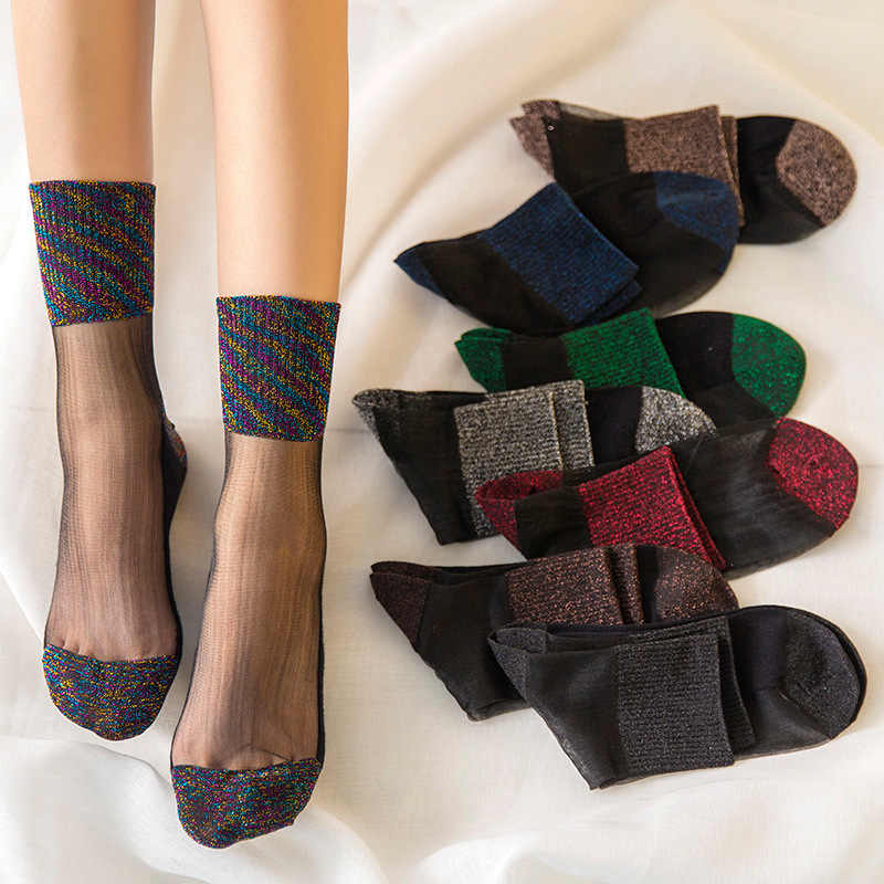 Sexy dentelle maille résille chaussettes Transparent Stretch élasticité drôle cheville verre chaussettes Net fil mince femmes Cool brillant soie chaussettes