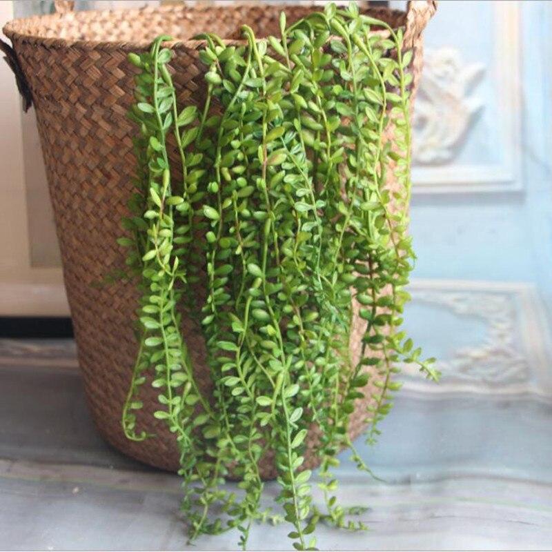Искусственные суккуленты, жемчуг, мясистые Зеленые стебли винограда, настенные пластиковые растения из ротанга, цветы для украшения на сва...