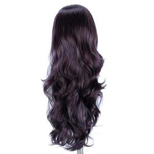 Image 3 - Perucas sintéticas pretas naturais da parte dianteira do laço de anogol #4 com o cabelo do bebê para as perucas longas do cabelo de futura da onda da água resistente ao calor