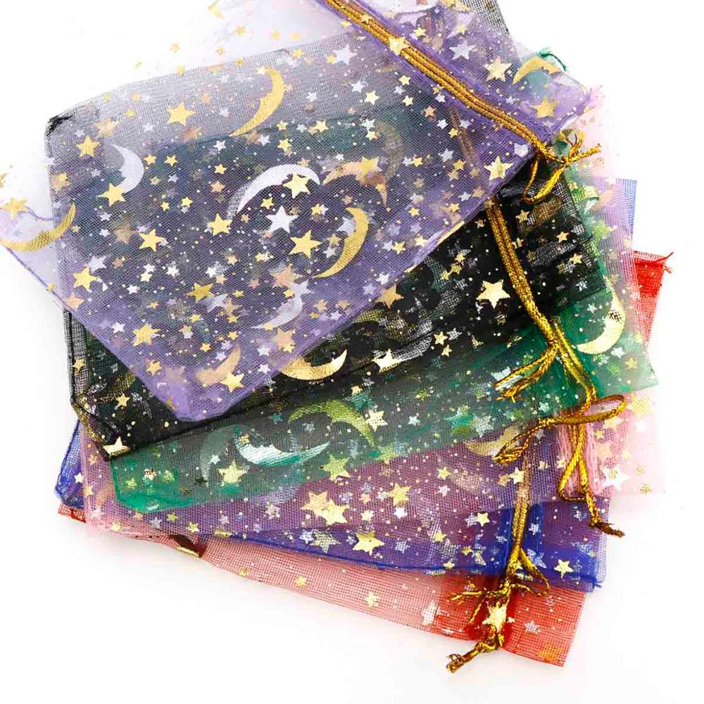 30pcs/lot Moon&Star Organza Bags 9.7x12cm Small Christmas Drawstring Gift Bag Charm Jewelry Packaging Bags & Pouches