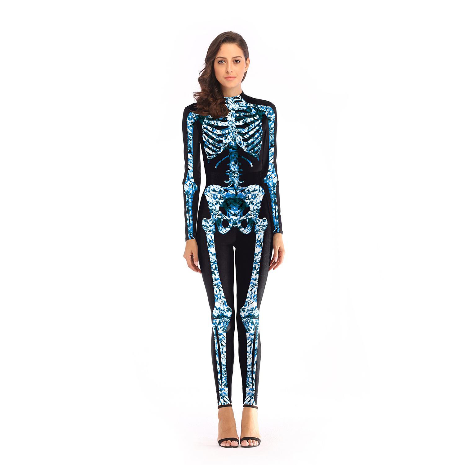 Halloween Clothing Wholesale Europe And America Hot Selling Halloween Day Parade Skeleton One-piece Wholesale B108-007