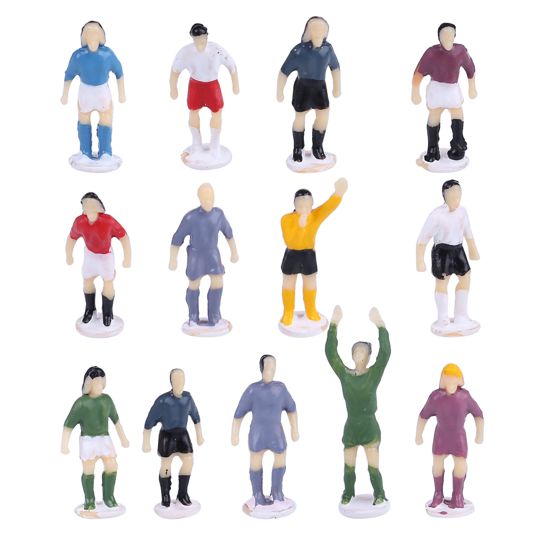 12Pcs/set 1:87 Mini Football Figures Sport Soccer Figures Sand Table Layout Model Building Kits - Types And Colors Are Random