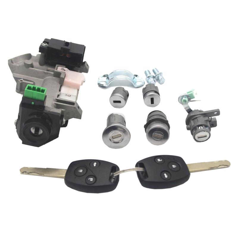 for Honda Accord 06 07 Complete Set Ignition Switch Cylinder Door Lock with 2 Keys 8E Chips|Electronic Ignition| |  - title=