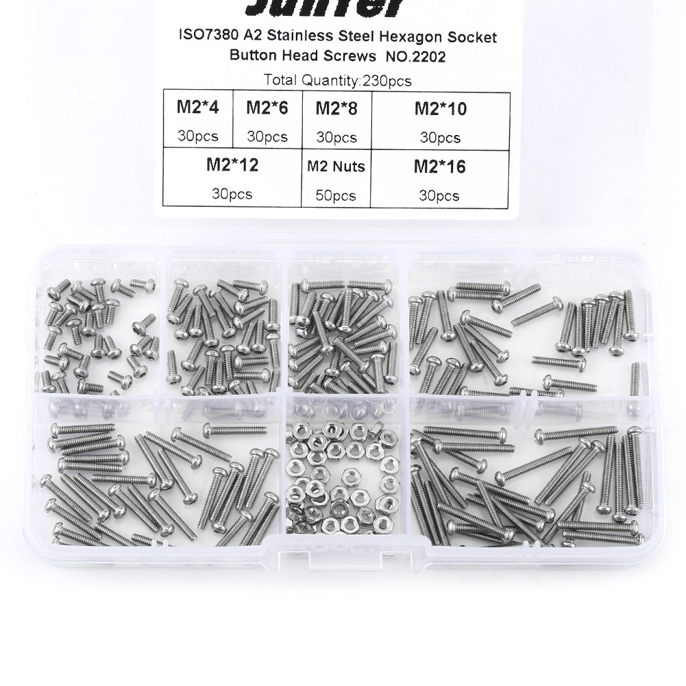 230pcs M2 Stainless Steel SS304 Hex Socket Button Head Screws Bolts And Nuts Assortment Kit Assrotment Set Fastener Hardware