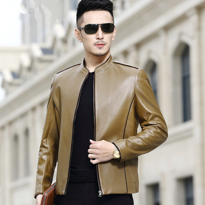 Genuine Leather Jacket Short Sheepskin Coat Men Spring Autumn Blazer Leather Jackets Blouson Cuir Homme A16CJ8807 YY282