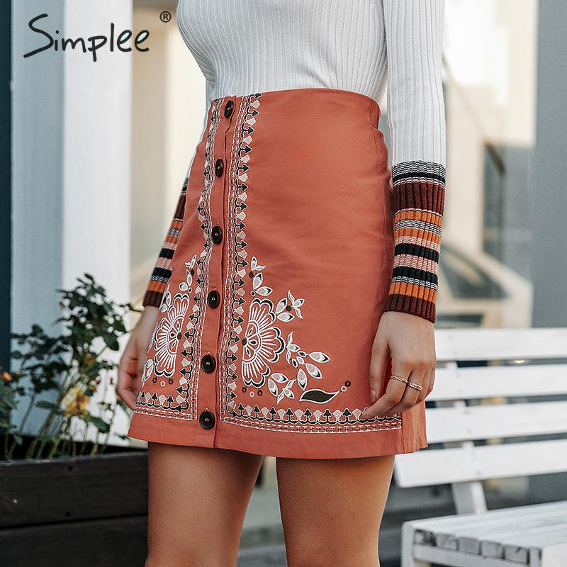 Image 3 - Simplee Enthic vintage floral embroidery women short skirt A line button female mini skirt High waist ladies bohemian skirt 2019-in Skirts from Women's Clothing