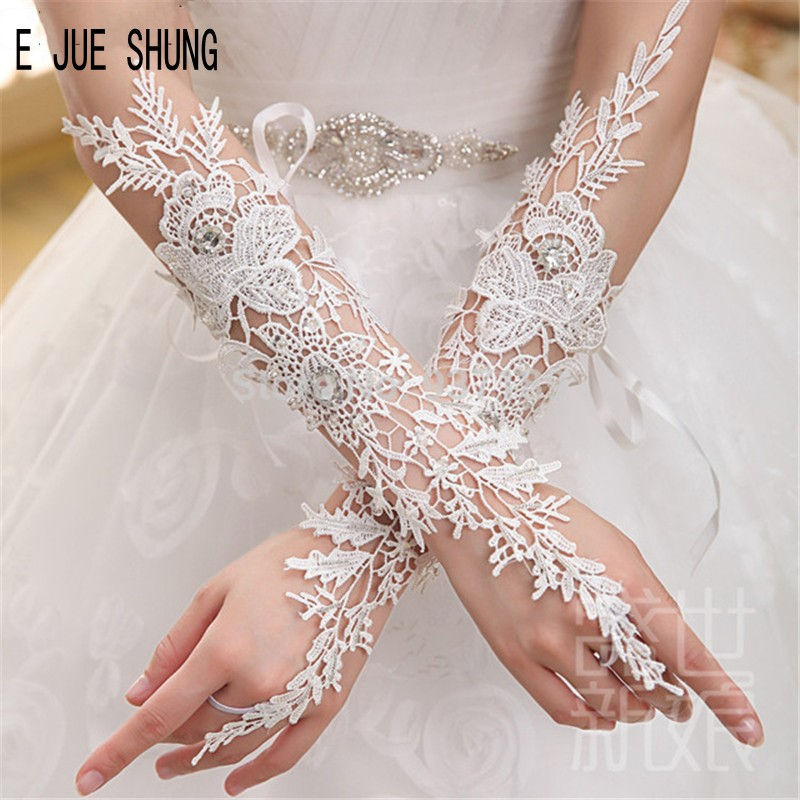 E JUE SHUNG Ivory White Wedding Gloves Fingerlesss Long Lace Appliques  Crystal Bridal Gloves For Wedding Formal Party In Stock