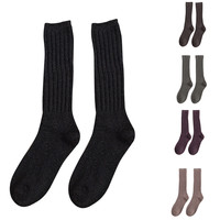5 Pairs candy colored stripes cotton sexy womens long socks style party street dancing knee sock