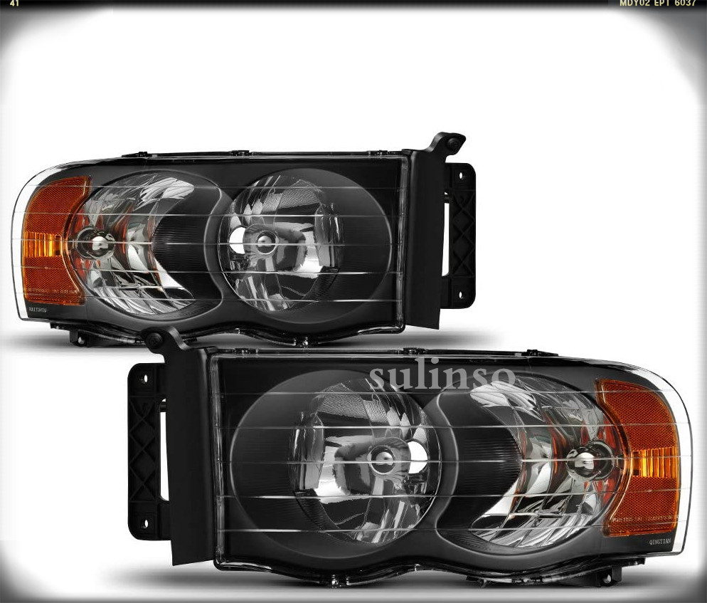 Sulinso For 2002 2003 2004 2005 Dodge Ram 1500 2500 3500 Black Headlights Headlamps Set Driver + Passenger Side