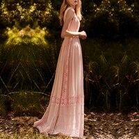 Elegant Hollow Out Lace Chiffon Dress Women Runway Luxury Designer Long Maxi Floor Length Summer Sleevless Formal Lady Dresses