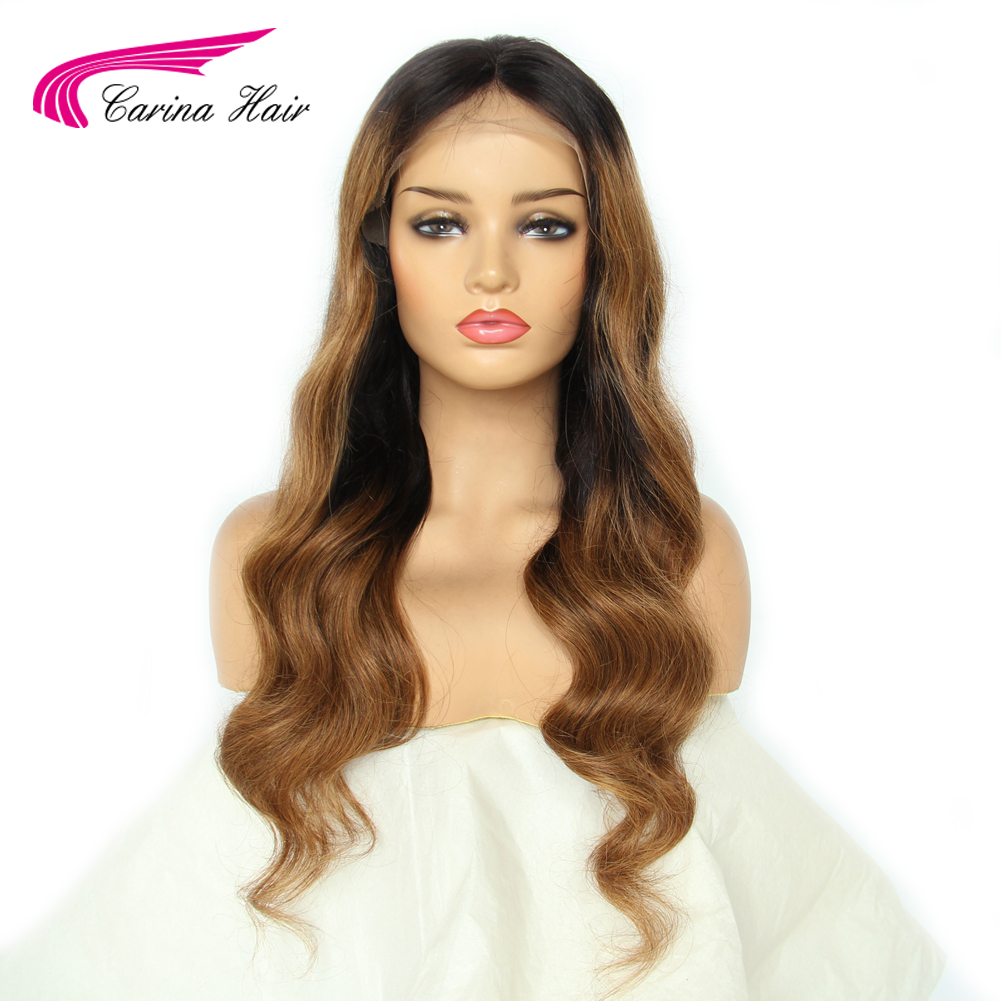 Carina Brazilian Loose Deep 13*6 Lace Front Human Hair Wigs PrePlucked Remy Ombre Color Glueless Wig With Highlight