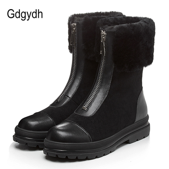 Gdgydh Natural Fur Women Boots Genuine Leather Suede Quality Good Warm Winter Shoes Russia Plush Inside Low Heel Comfortable New