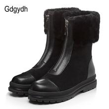 Gdgydh bottes en fourrure naturelle pour femmes, cuir véritable, suède, bonnes chaussures dhiver chaudes, en peluche russe à lintérieur, talon bas, confortables, nouvelle collection