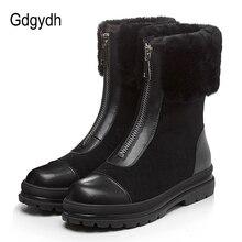 Gdgydh pele natural botas femininas couro genuíno camurça qualidade boa quente sapatos de inverno rússia pelúcia dentro de salto baixo confortável novo