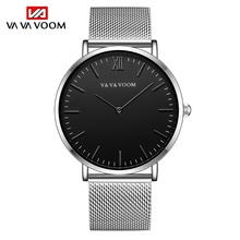 VA VA VOOM Simple Men's Watch Casual Quartz Watches High Quality Wristwatch Black Steel Strap Watch montre homme erkek saat топ voom