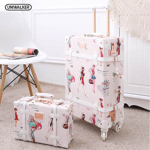 UNIWALKER Rolling-Luggage Suitcase Trunk Spinner-Wheels-Trolley Bagages Retro Vintage