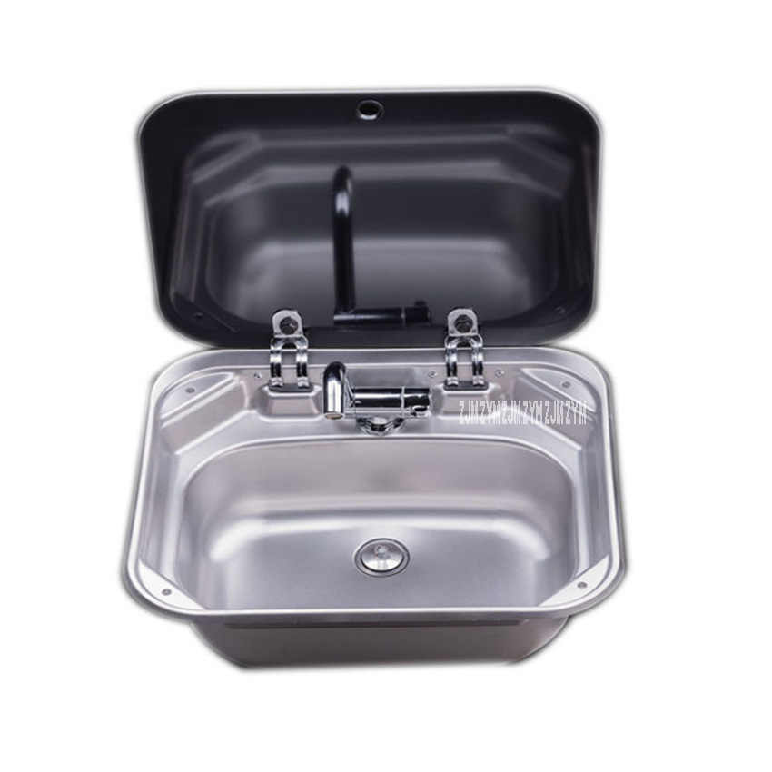ps 698 quality 304 stainless steel single slot caravan sink rv camper sink with a right angle drainer folding faucet glass cover