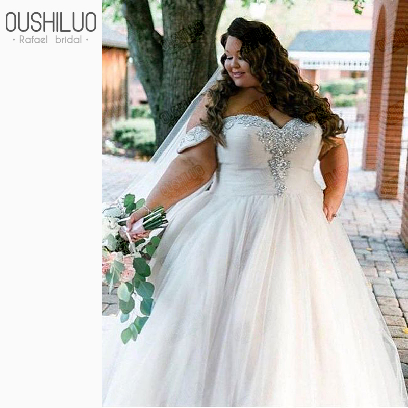 African Plus Size Wedding Gowns Off Shoulder Wedding Dresses For African American Women Beaded Wedding Dress For Curvy Women