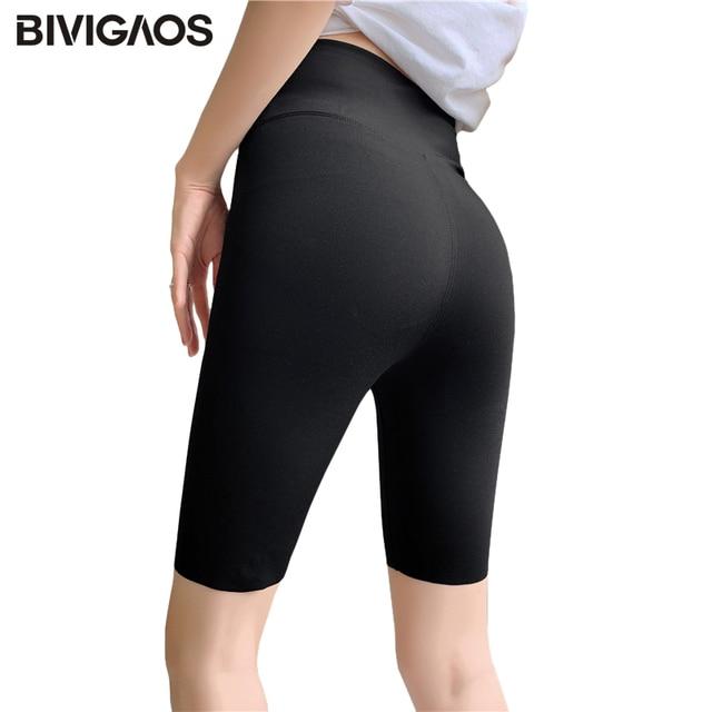 BIVIGAOS Summer Sharkskin Fabric Biker Shorts Women's Thin Black Cycling Shorts Slim Skinny Sport High Waist Fitness Shorts 1