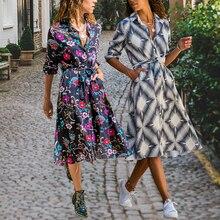 Boho 스타일 플로랄 프린트 미디 드레스는 칼라 띠를 돌려 패션 셔츠 드레스 긴 소매 주머니 여성을위한 캐주얼웨어 Vestido