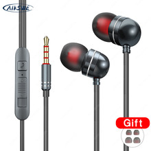 AIKSWE HIFI Stereo Bass Earphone 3.5mm with Microphone Wired Control Gaming Headset For