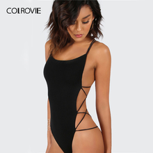 COLROVIE Strappy Backless Bodysuit Women Black Sleeveless Summer Beach Hot