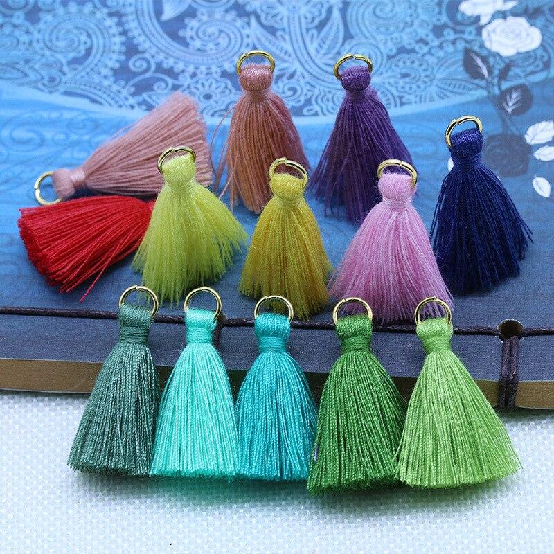 20-80Pcs Polyester Cotton Mini Metal Ring Tassel Trim DIY Hanging Ring Fringe Trim Garments Curtains Jewelry Decor Tassels Lace