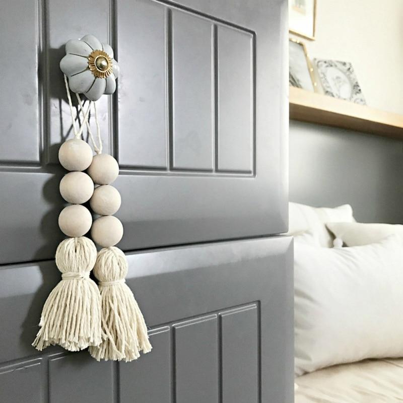 2PCS European & American Style Cotton Thread Tassel Wood Beads Hanging Decoration Home Decoration Accessories Decoracion Hogar