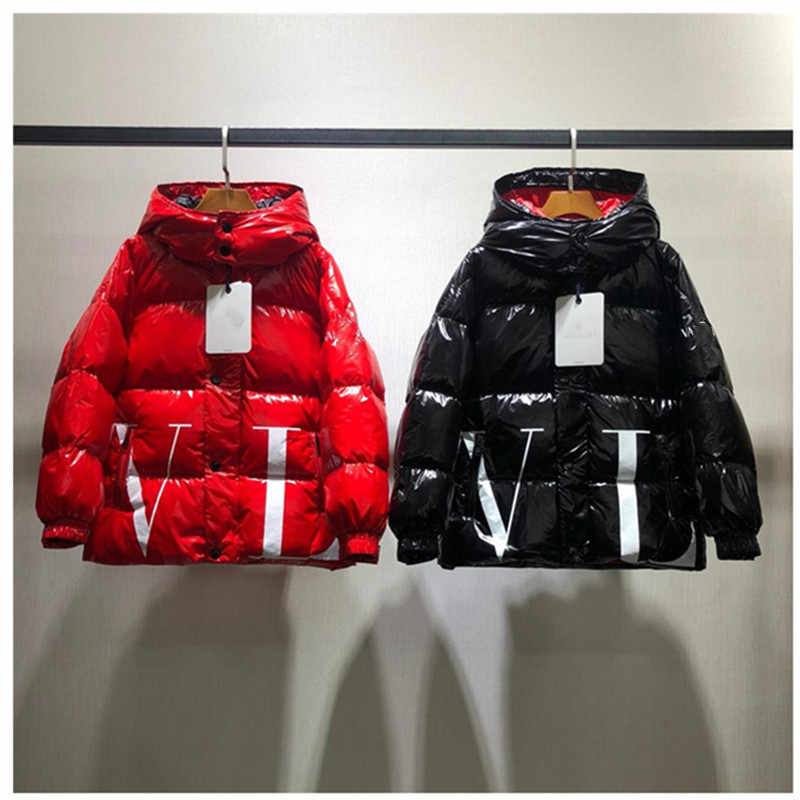 Brand Kids Hooded Duck Down Coat Red Black Outfits Boys Winter Thick Jackets