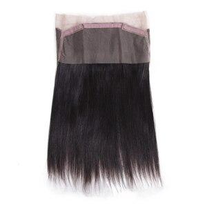 Image 5 - Fasci di capelli lisci brasiliani galilelle con fasci di capelli umani Remy di colore naturale frontale 3 con chiusura frontale in pizzo 360