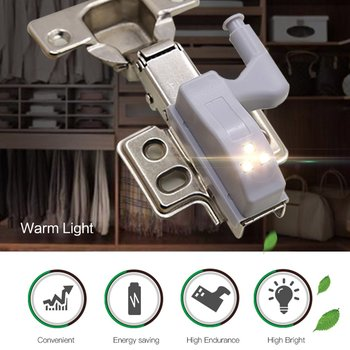 HOT LED cabinet hydraulic hinge light kitchen closet  Cabinet Hinge Universal Hinge Light Deadlock Buckle High Brightness