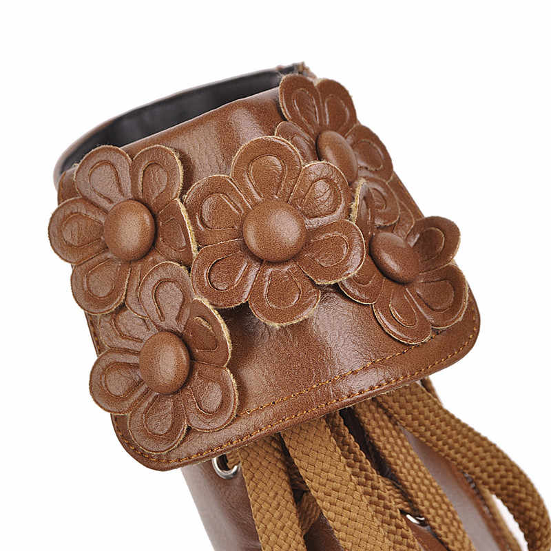 Odetina ใหม่ Elegant ผู้หญิง Chunky Mid Heel Lace Up ข้อเท้ารองเท้าแฟชั่น Zip Up ดอกไม้ Booties ฤดูหนาวซิปด้านข้างดอกไม้รอบ Toe