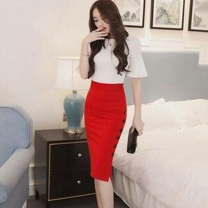 Image 5 - Plus Size 2020 Fashion Women Work Midi Skirt OL Sexy Open Slit Button Slim Pencil Skirt Elegant Office Ladies Skirts Red Black