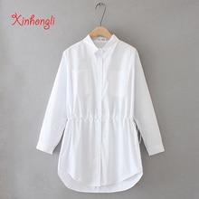 Plus size Slim waist pockets women white blouse 2020 NEW spring autumn office ladies