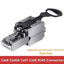 10 قطعة موصل RJ45 Cat8 Cat7 Cat6A Cat6 محول الشبكة لكابلات الإنترنت النحاس درع أداة مجانية تجعيد RJ45 إيثرنت كابل